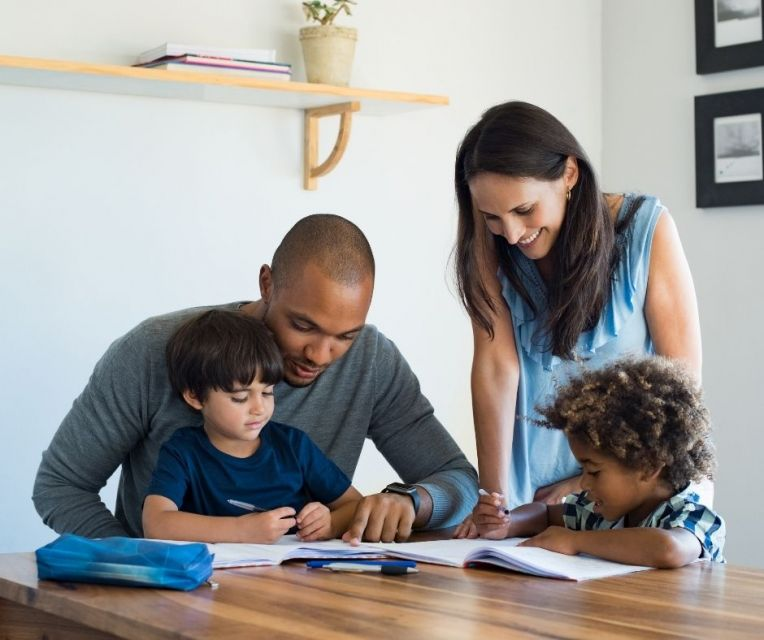 Parents and children study together