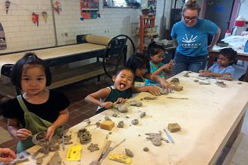 Silliness is the same in ANY language! Family Literacy students enjoy making art during a field trip to the Braddock Carnegie Library, organized by our Office of Public Art artist-in-residence Mary Tremonte.
