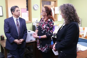 Senator Jay Costa talks about adult Literacy programs in Pittsburgh  with CEO Carey Harris and East End coordinator Lisa Morse